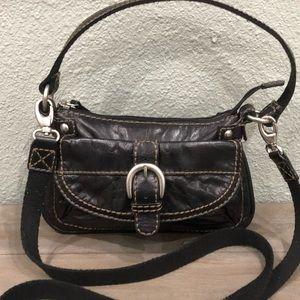 Authentic Fossil Leather/ Canvas Crossbody Handbag